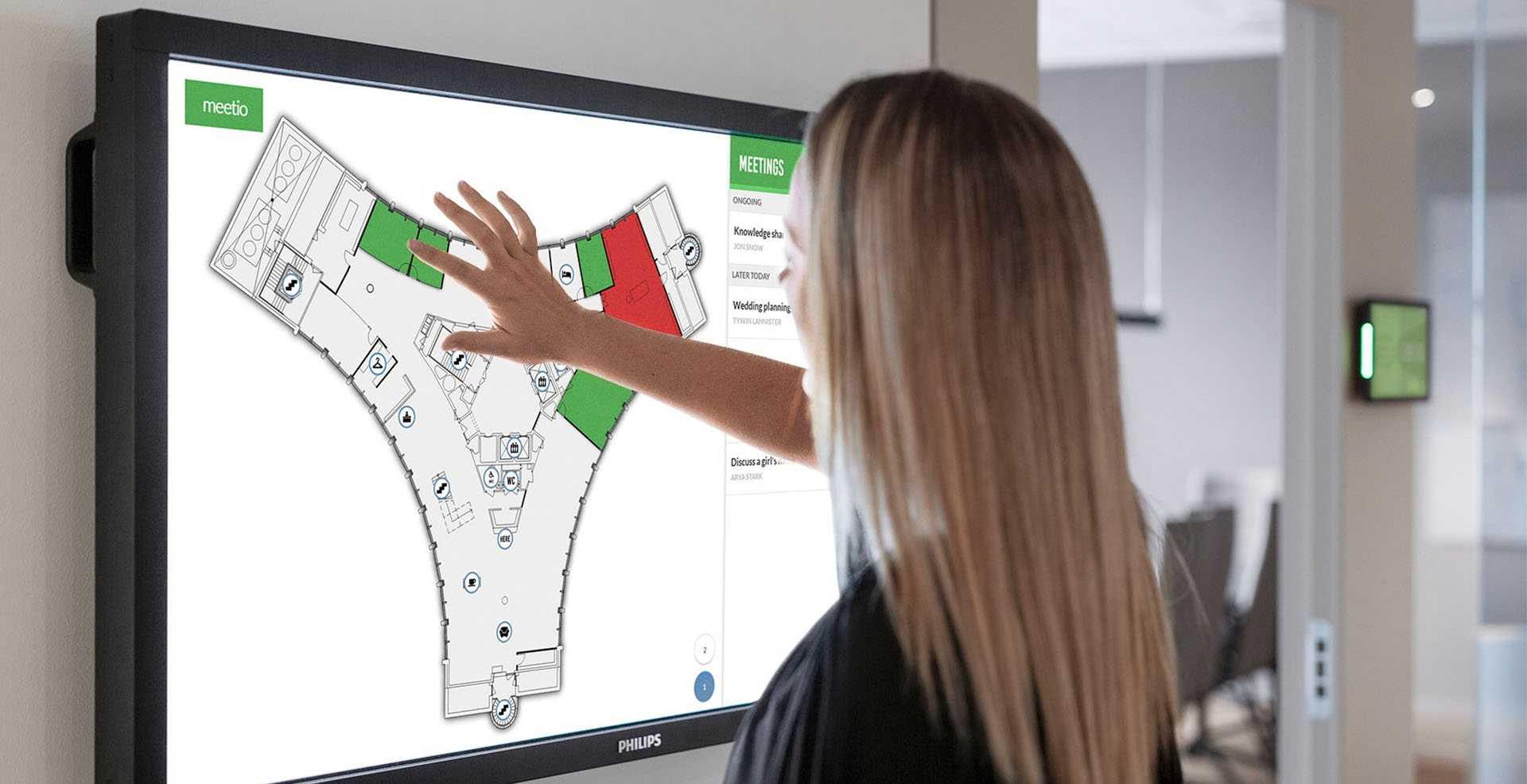 Meetio View screen with floor plan map