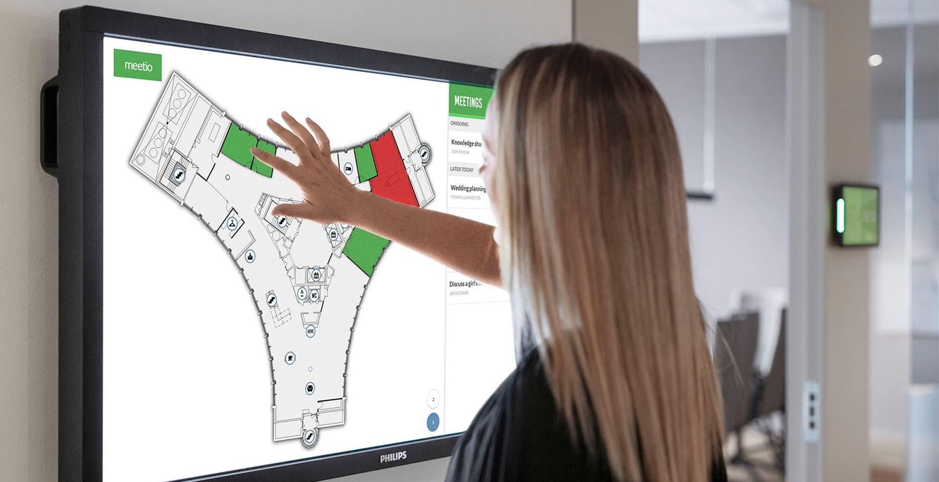 Meetio View-skärm med karta över ett kontor