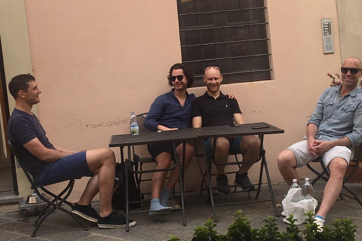 Meetio team having a fika in Italy