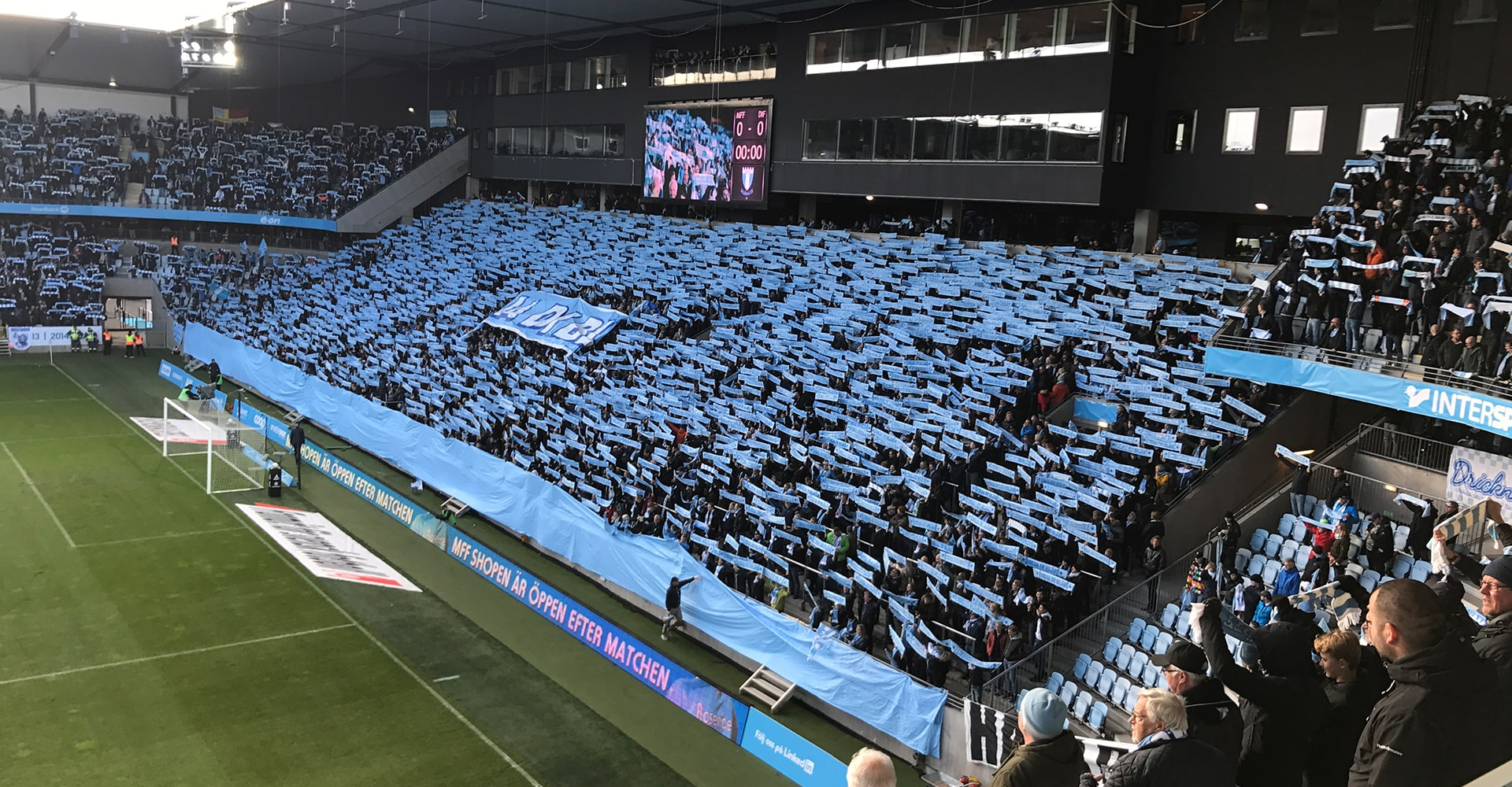 Malmö FF football supporters during a game