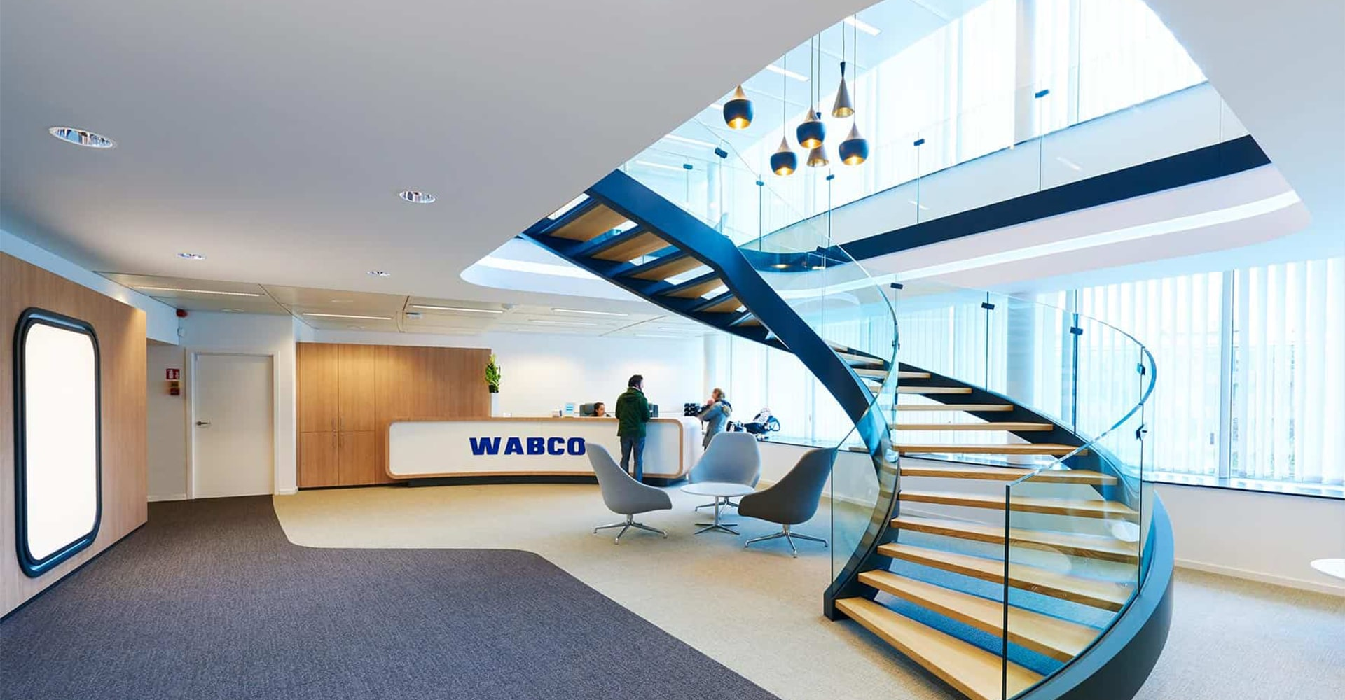Large and bright reception area at Wabco HQ