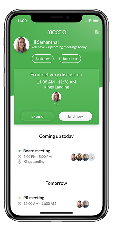 Meetio phone app extend or end meeting view