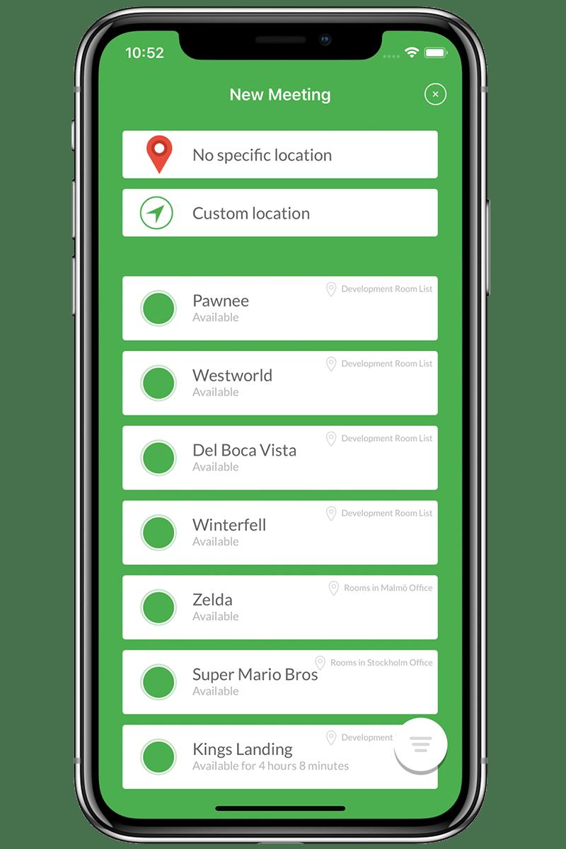 Rumsöversikt i Meetio App