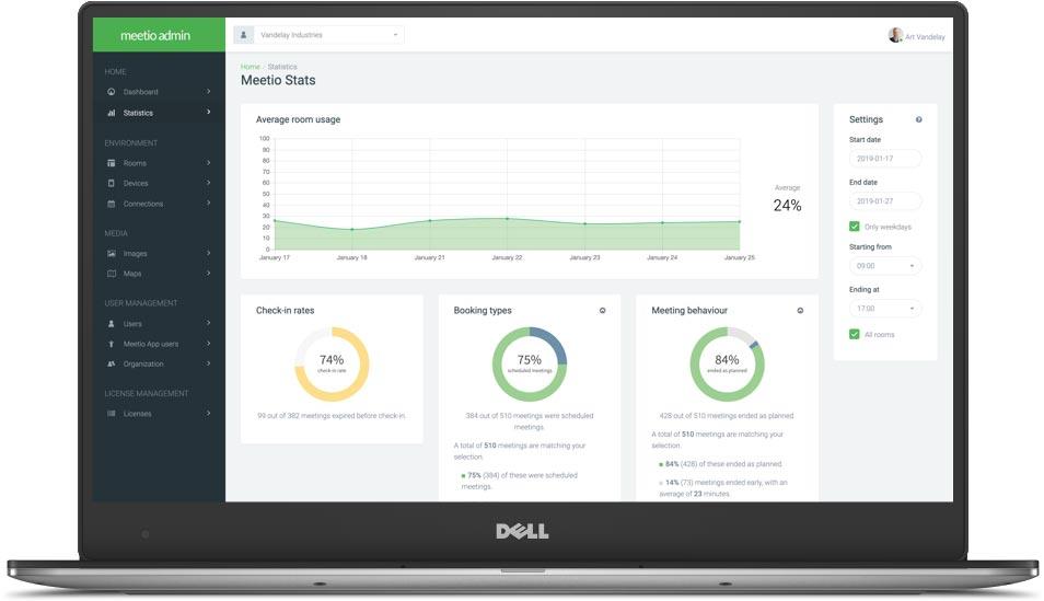 meetio-admin-laptopMeetio Room - Insikter och statistik om din arbetsplats