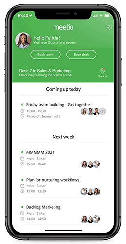 Meetio phone app calendar overview