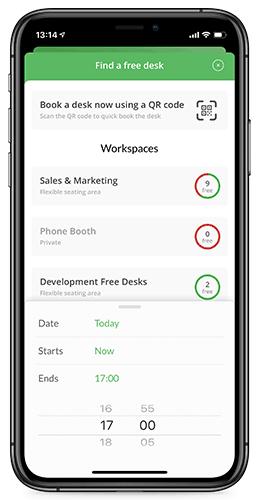 Meetio phone app desk booking