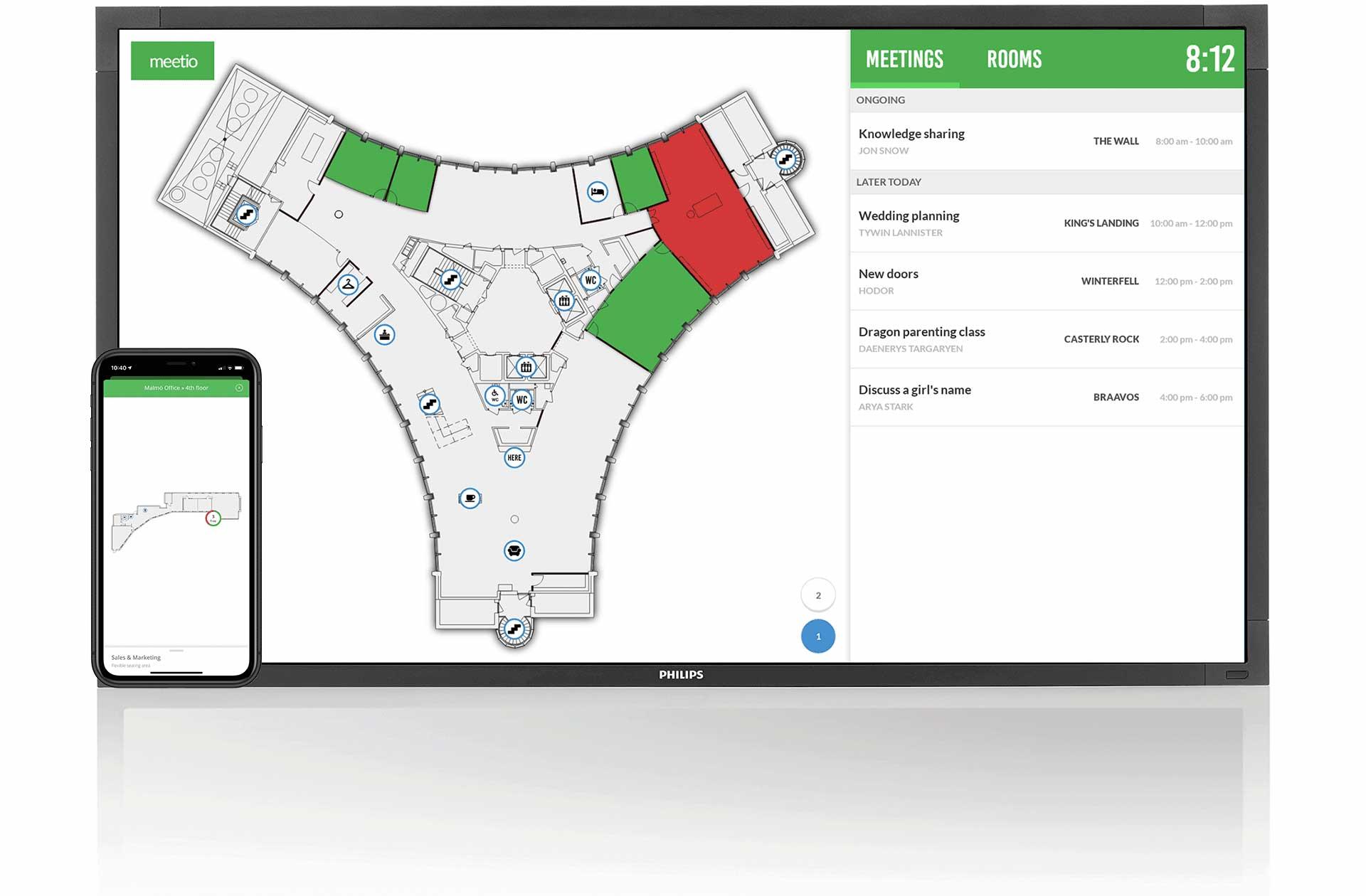 Meetio View with floor plan maps