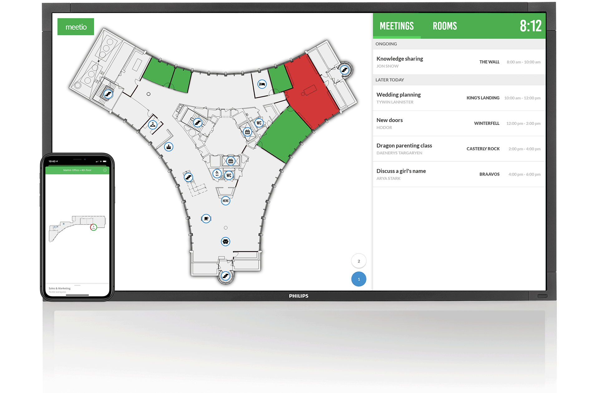 Meetio View with floor plan maps