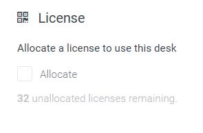 Allocate desk license