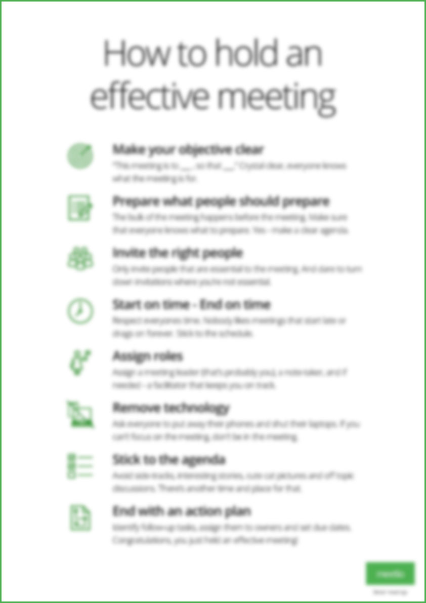Effective meetings poster