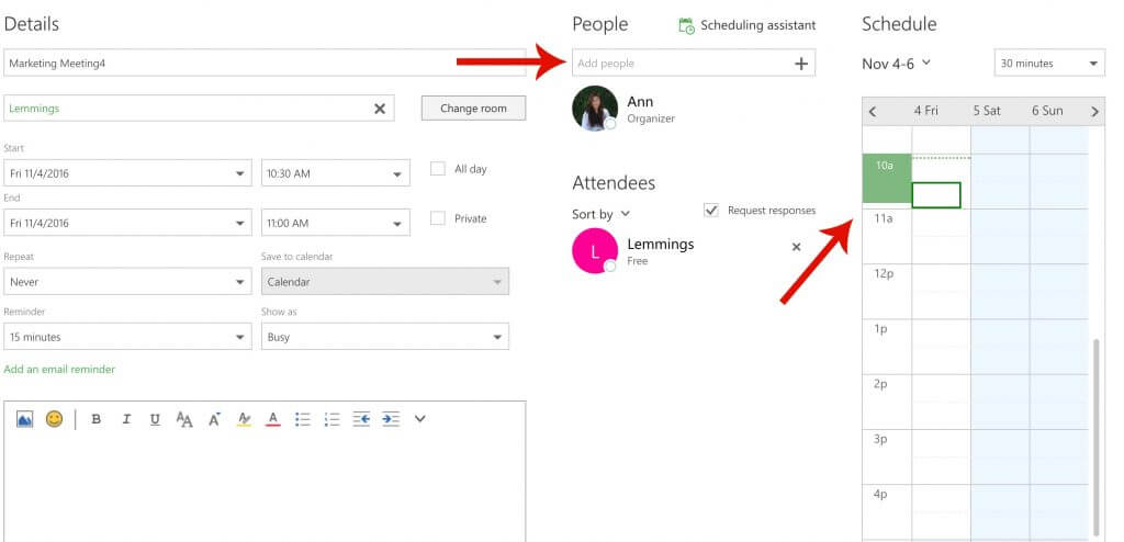 Guide Outlook add people and check availability