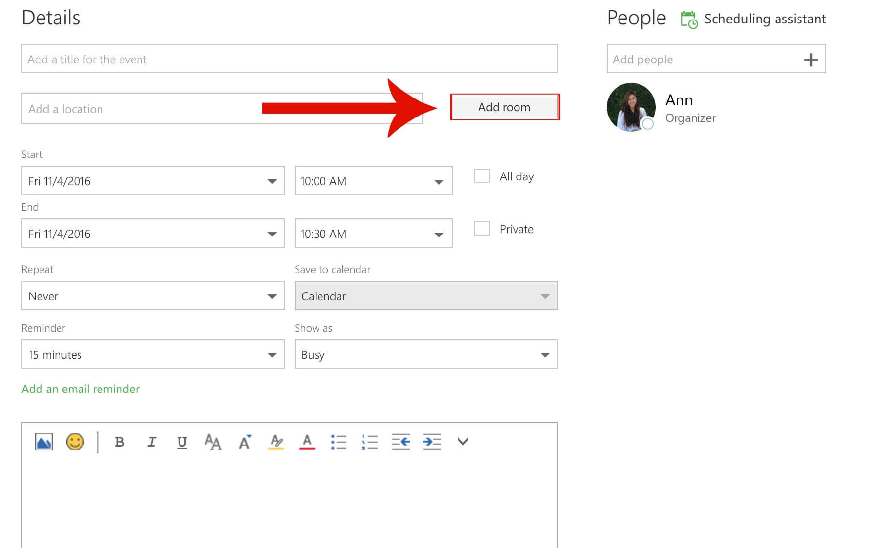 Guide Outlook add room