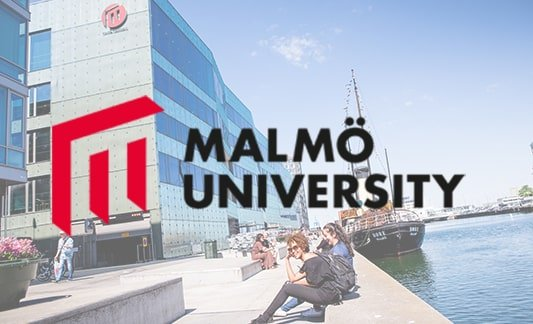 Malmö University exterior with logo