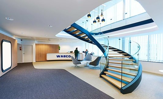 Reception at Wabco HQ and a big staircase