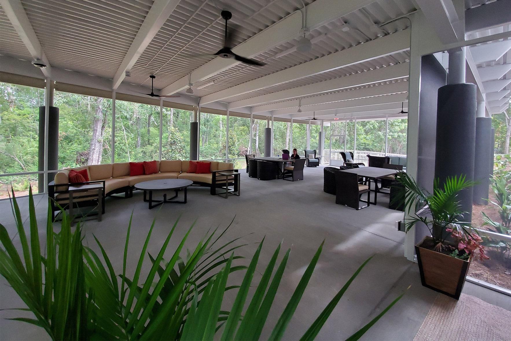 Indoor office area that looks like outdoor