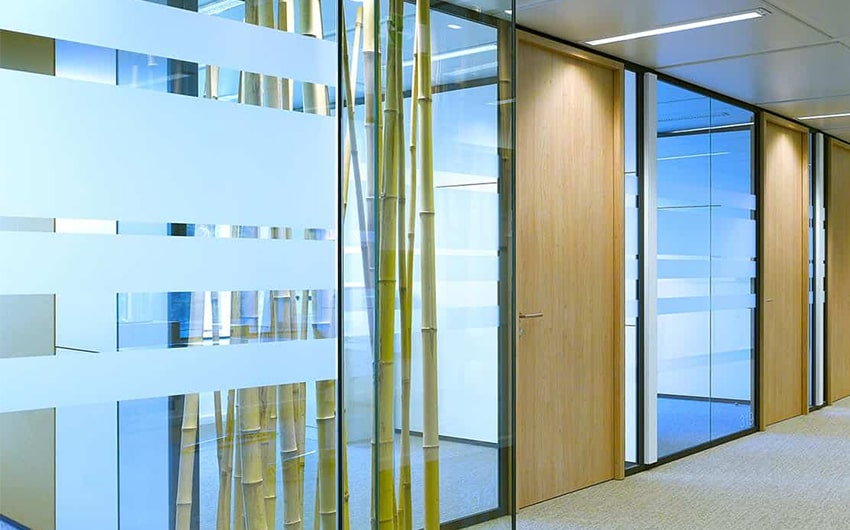 Meeting rooms with glass walls at Wabco