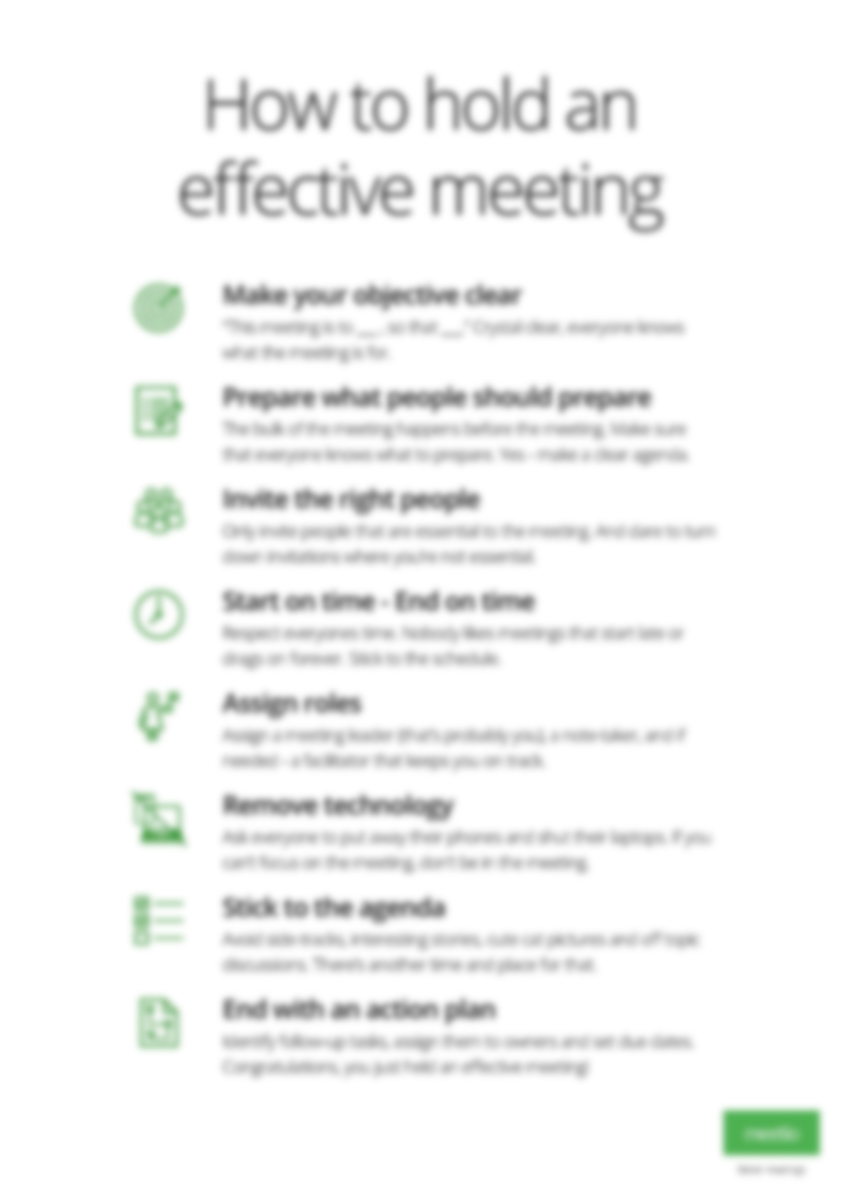 Effective meetings poster blurred